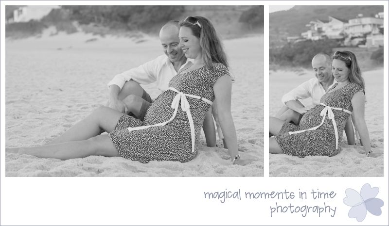 black and white maternity photos on camps bay beach