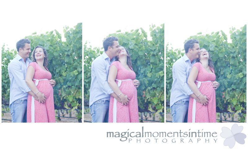 maternity photos at groot constantia cape town couple kissing in vineyards