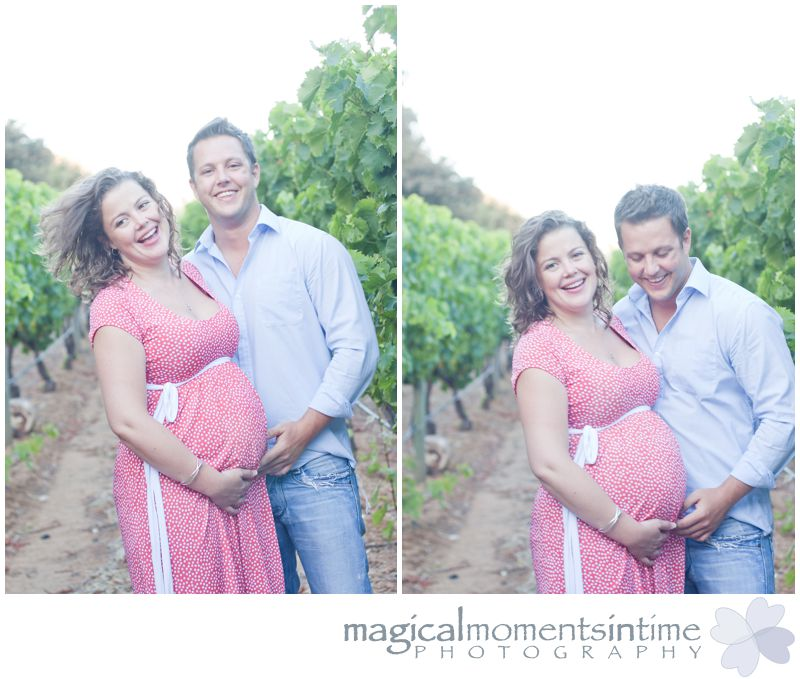 maternity photos groot constantia cape town laughing in the vineyards