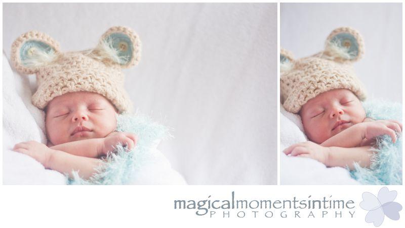 cape town newborn photo shoot baby boy in teddy bear hat prop