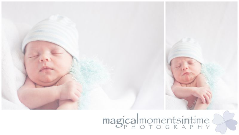 cape town newborn baby photo shoot sleeping baby in blue and white striped hat