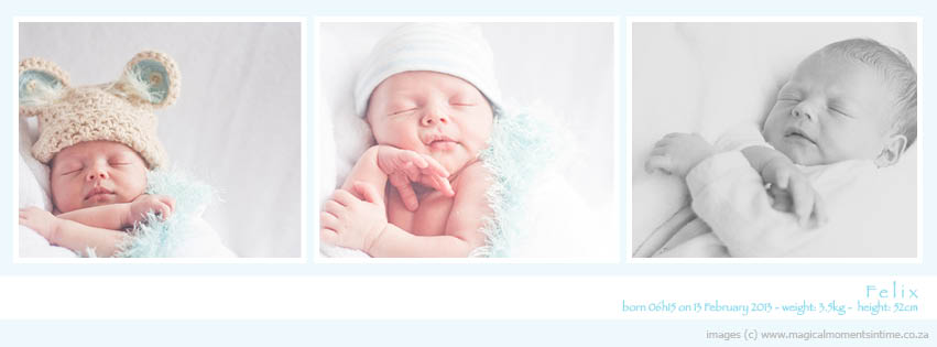 cape town newborn photography Facebook cover image with birth details