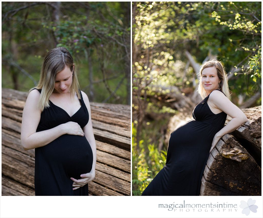 maternity photos with mom to be leaning up against a log in Tokai forest