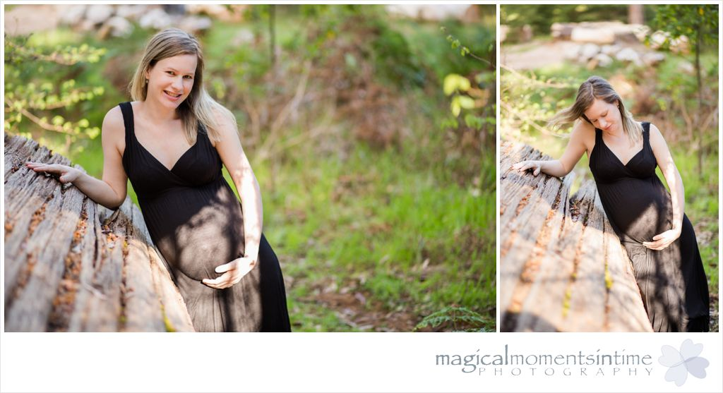 maternity photos in the forest with a sliver of sunlight