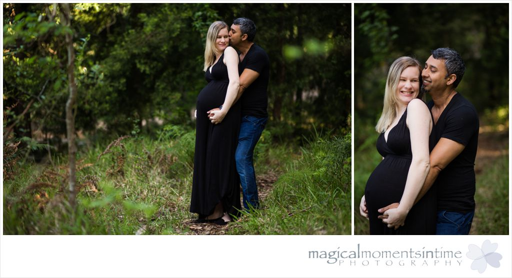 parents to be posing for their maternity photos in tokai forest cape town