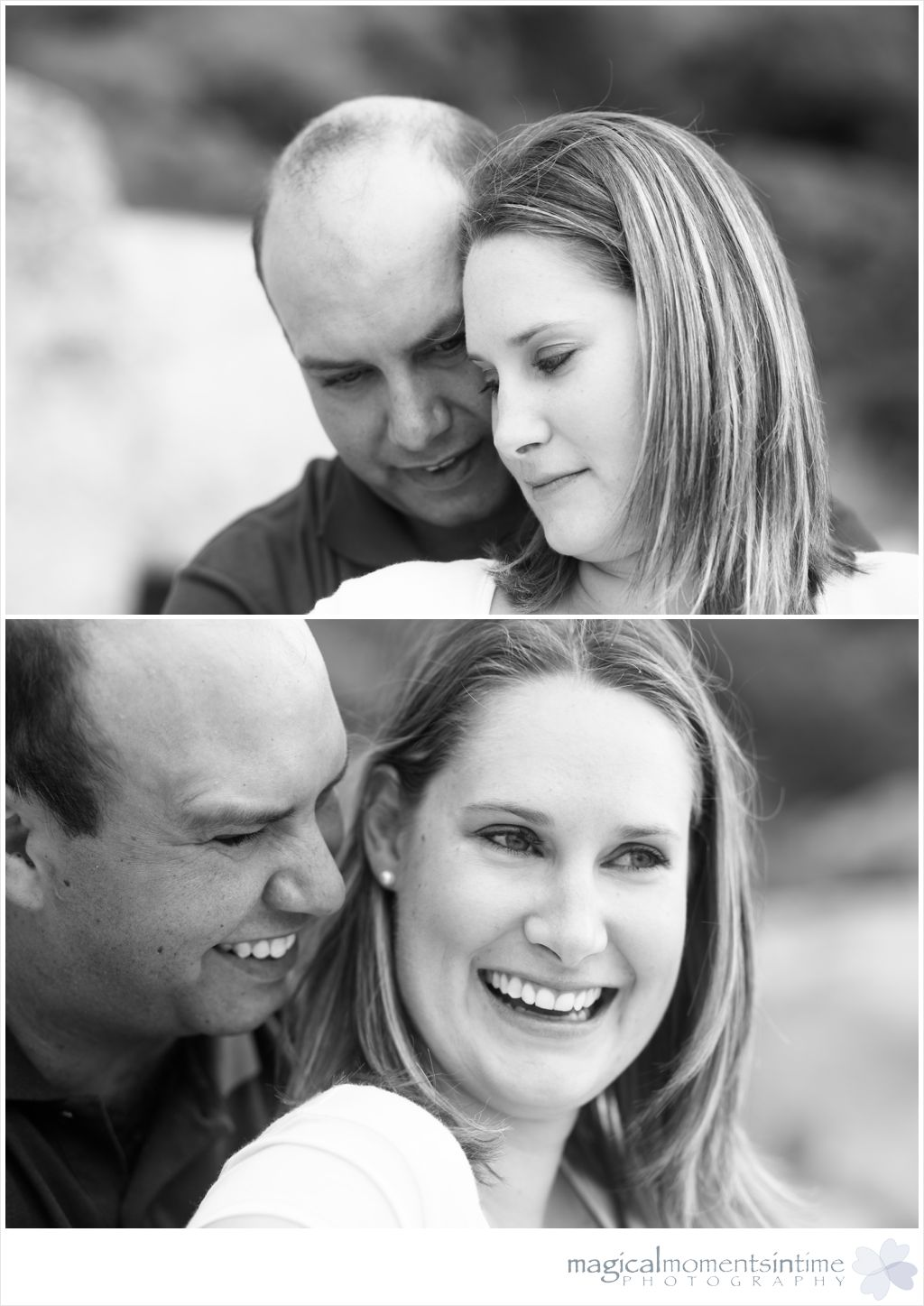 black and white couple engagement photos on llundudno beach