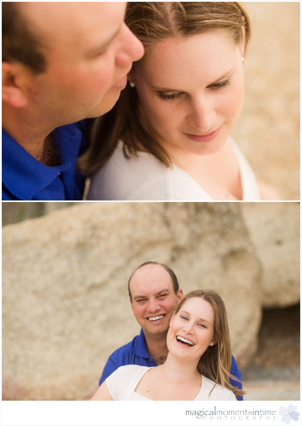 happy couples laughing during enagament shoot