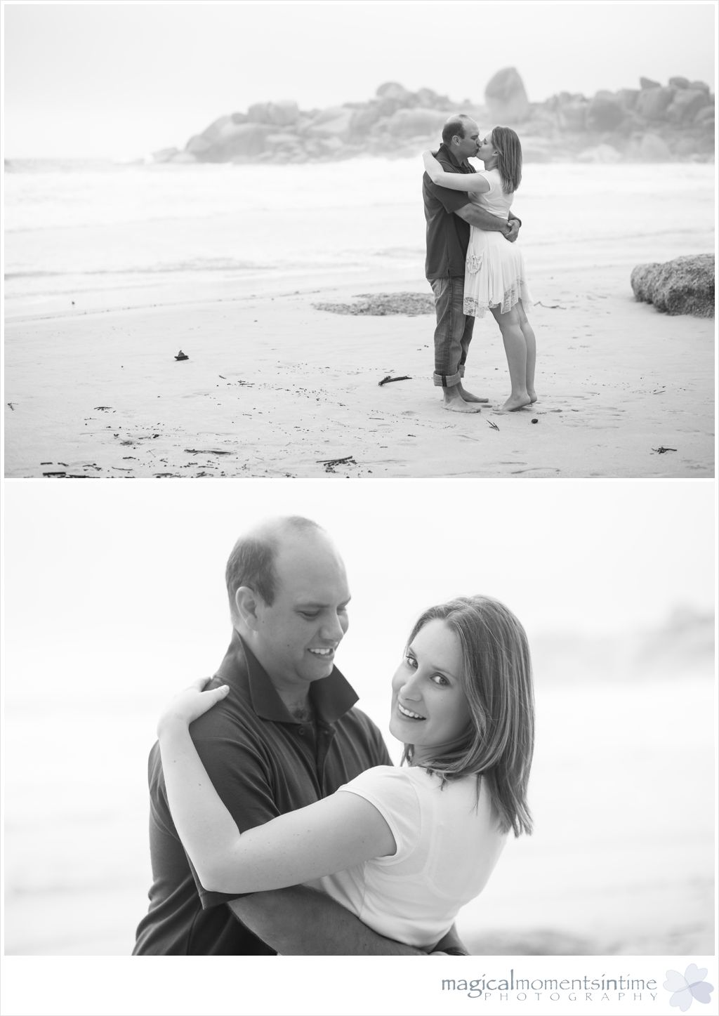 black and white misty photographs on the beach
