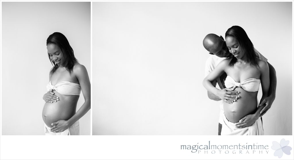 black and white maternity photos with a fabric wrap