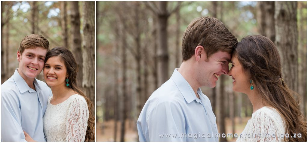 couple closeups during engagement shoot in the forest