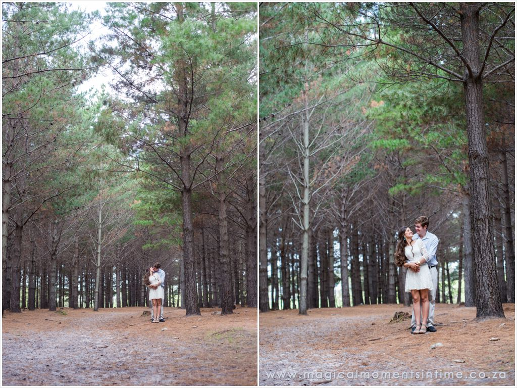 wide angle engagement shoot in the forest