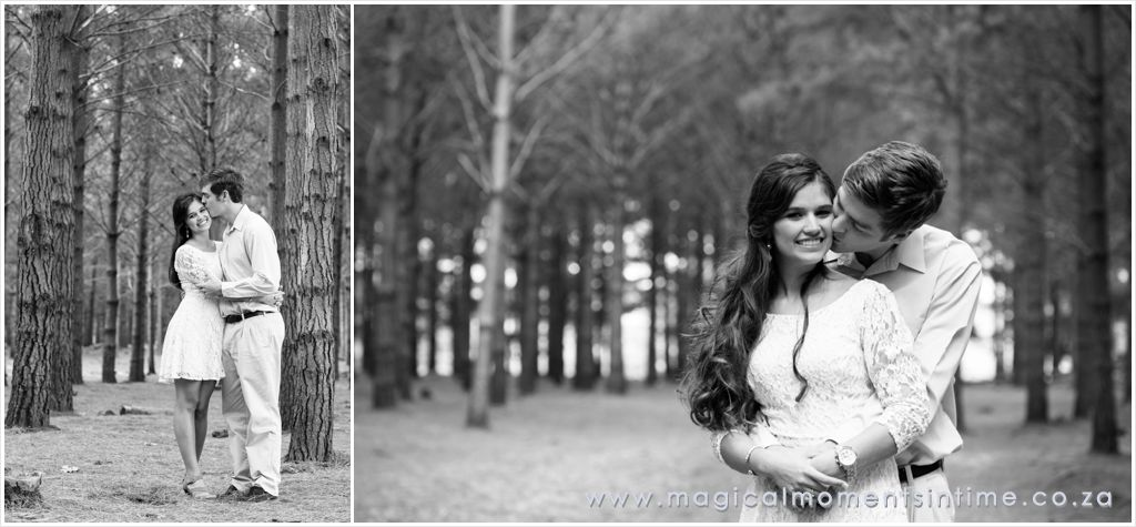 black and white forest engagement shoot