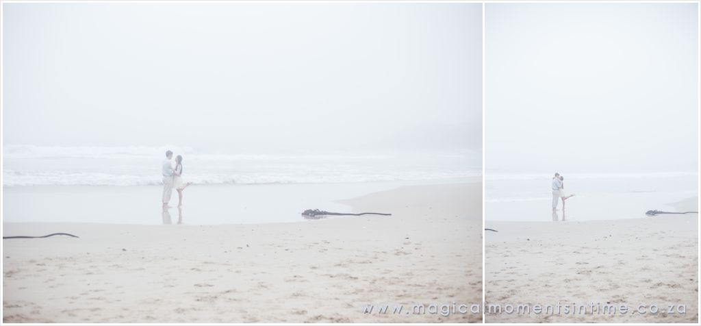 wide angle misty beach engagement shoot images