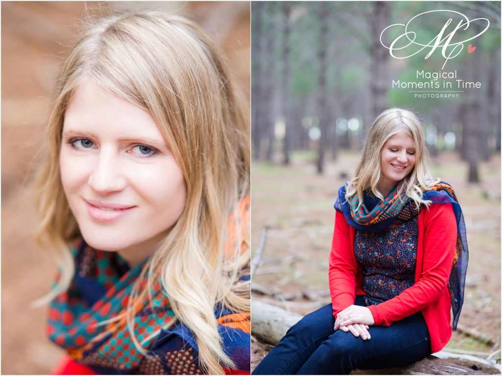 bride-to-be-portraits in pine forest