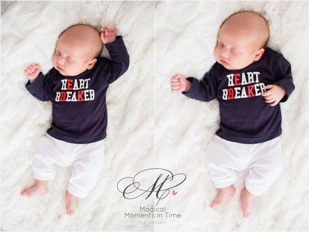 heart breaker onesie on a newborn baby boy