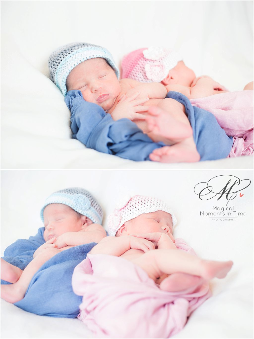 cape town newborn twin photoshoot in beanies and wraps