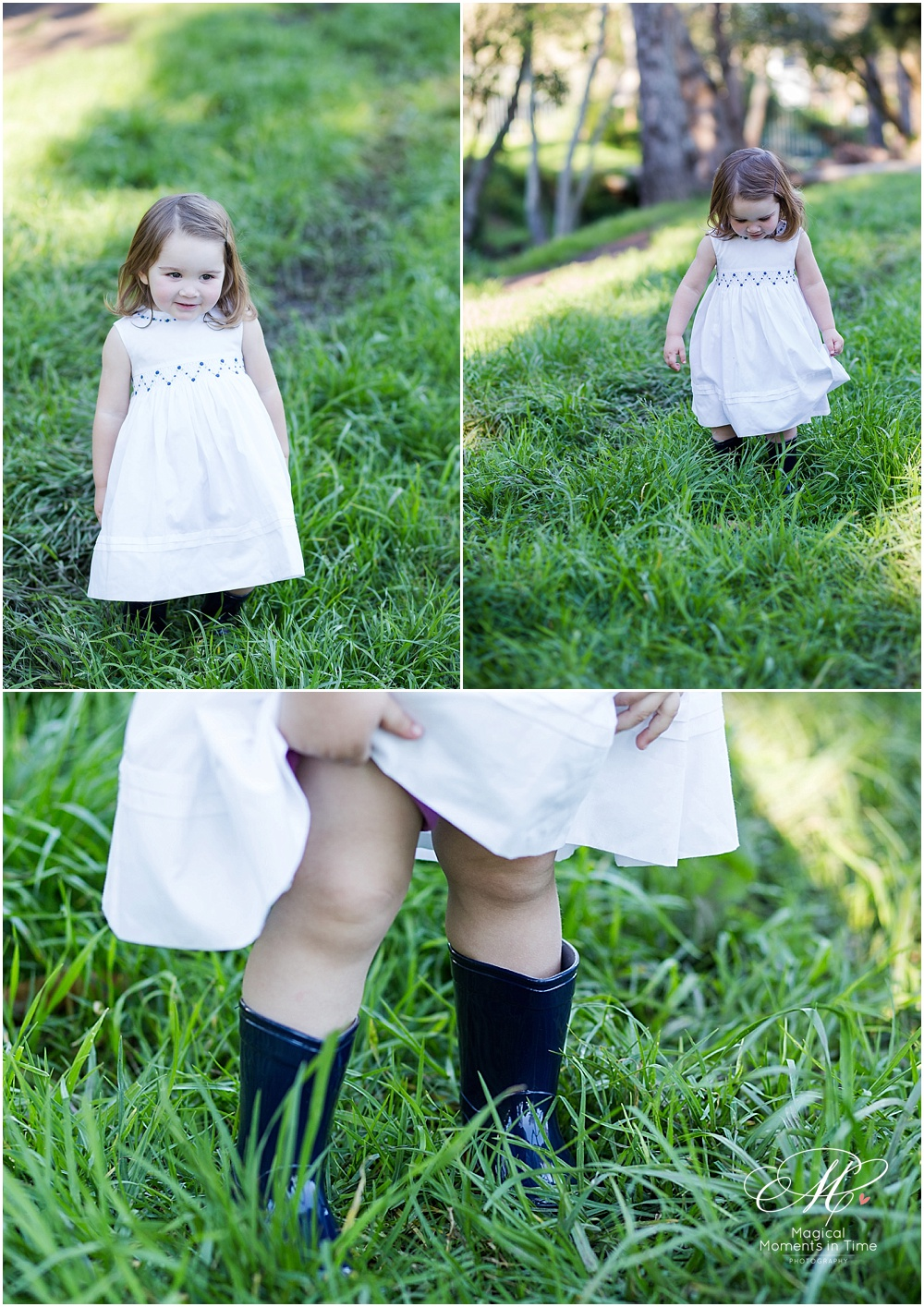 gumboots and party dresses in the grass