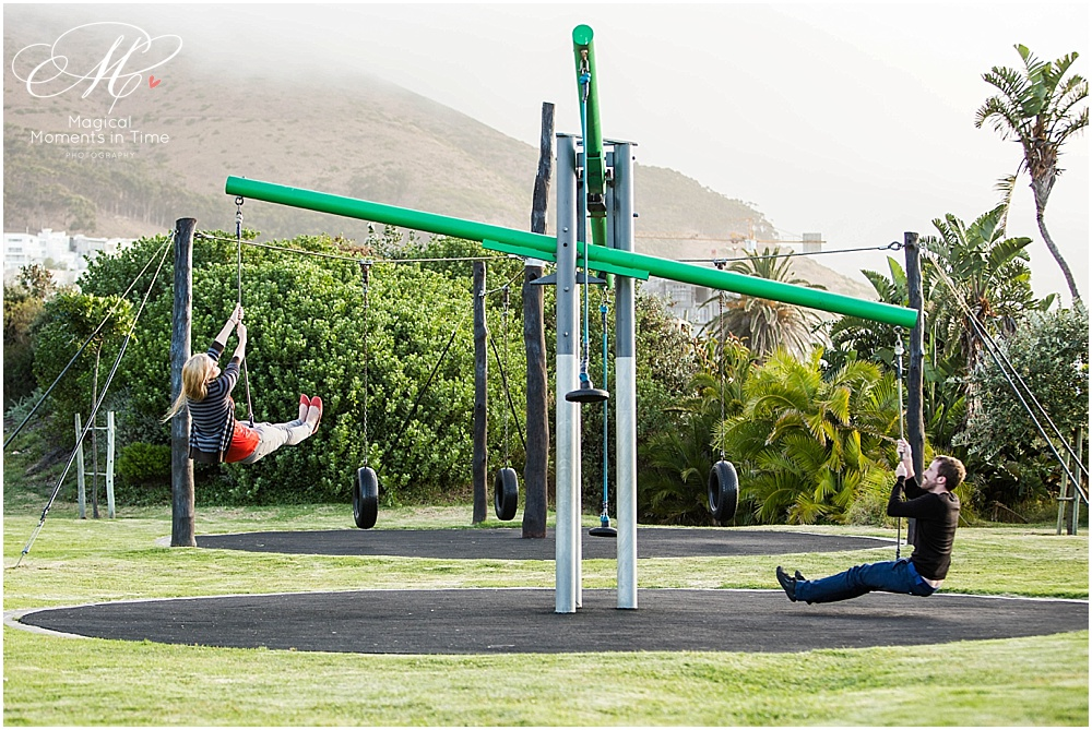 cape town engagement photography couple on a swing