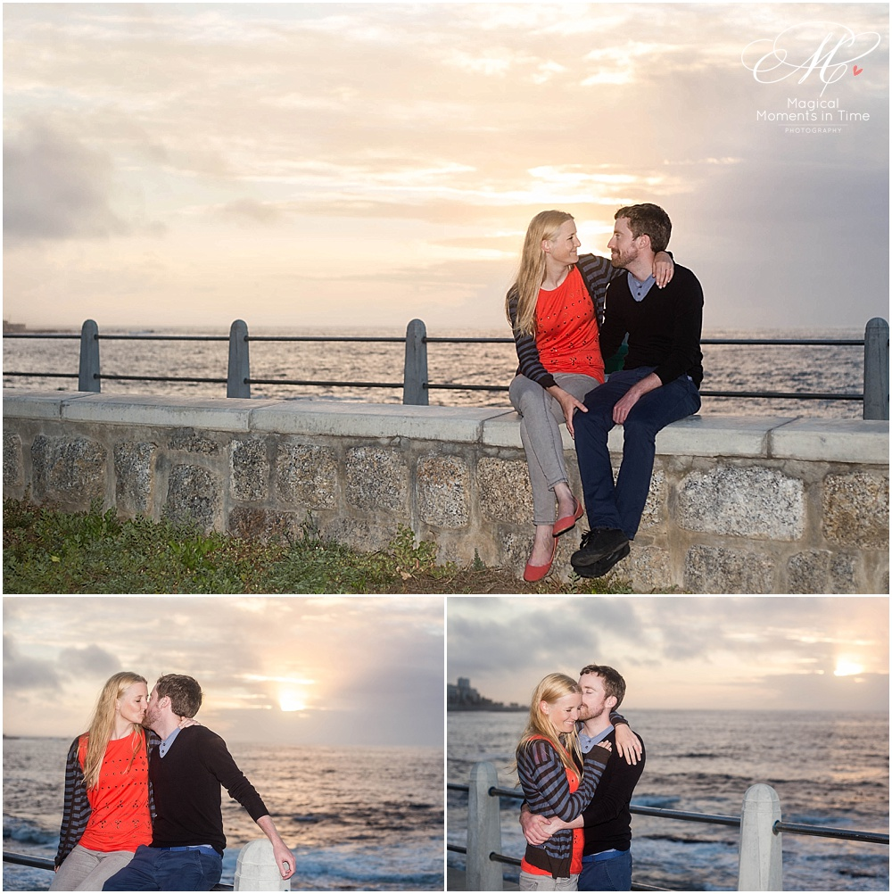 cape town engagement photography sunset on the sea point promenade