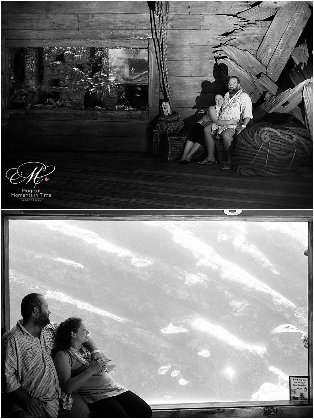black-and-white-ushaka-aquarium-durban-engagement-photography