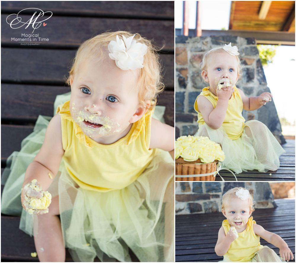 girl eating cupcake during cape town cake smash