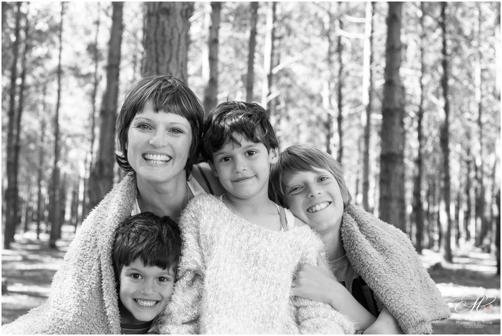 black and white family forest photography